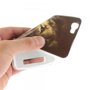 The Lion Pattern Soft Clear IMD TPU Phone Casing Mobile Smartphone Cover Shell Case for ZTE Blade A610 -