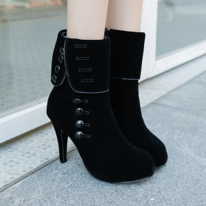 Martin Boots With Round Head And High Heels -