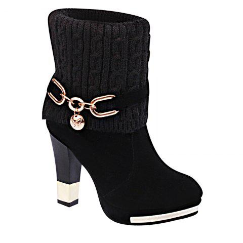 Cheap The New Metal Chain with All-match Thick Heeled Cashmere Fashion Bottine