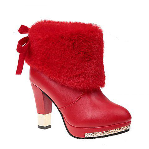 Store Autumn and Winter Fashion High-heeled Sleeve All-match Plush Boots