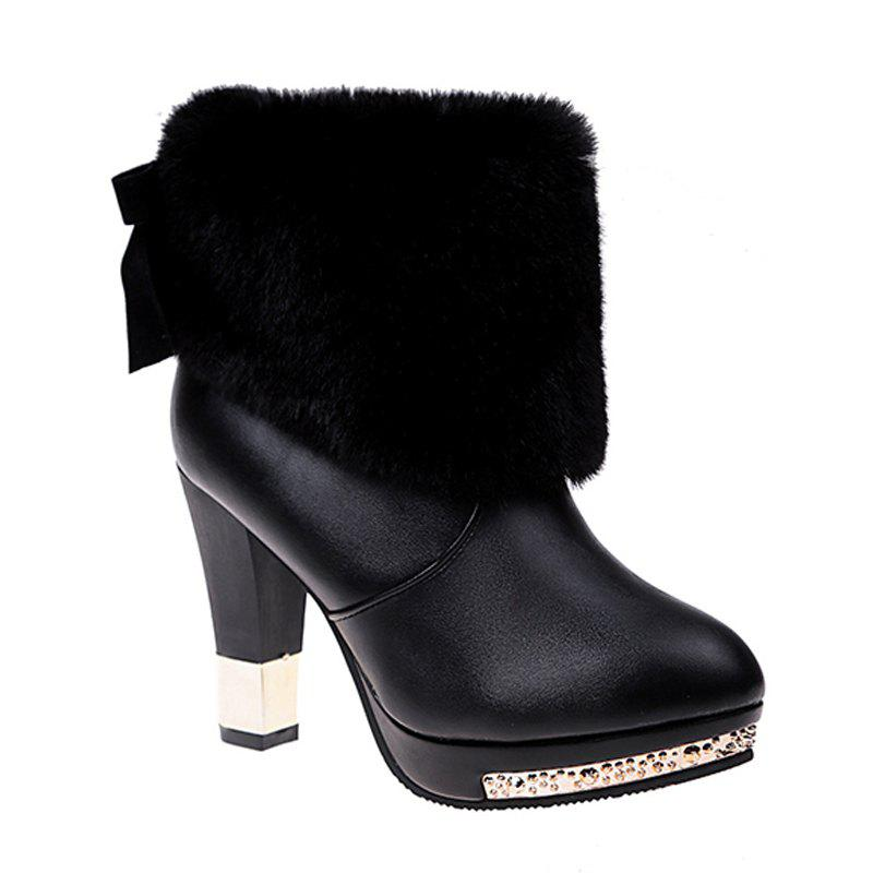 Best Autumn and Winter Fashion High-heeled Sleeve All-match Plush Boots