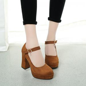 The Fall of New Waterproof Suede High-heeled Boots Buckle Coarse Round Head Straight -