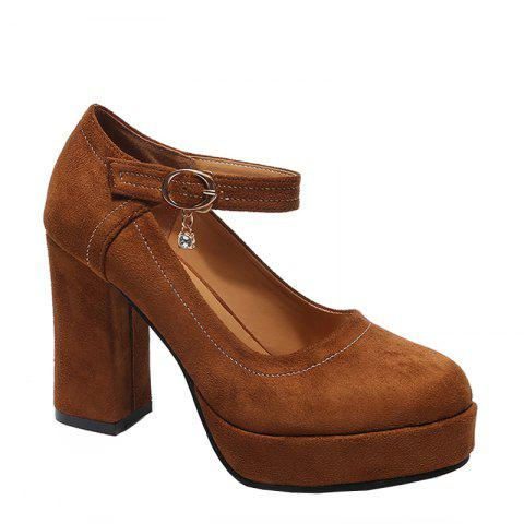 Shop The Fall of New Waterproof Suede High-heeled Boots Buckle Coarse Round Head Straight