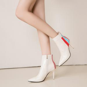 HH-S5205 with A Fine Pointed Leather Short Tube Color High-heeled Shoes -