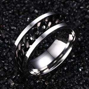 Titanium Steel Black Rotating Chain Personality Men's Ring Jewelry -