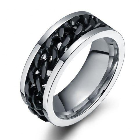 Shop Titanium Steel Black Rotating Chain Personality Men's Ring Jewelry