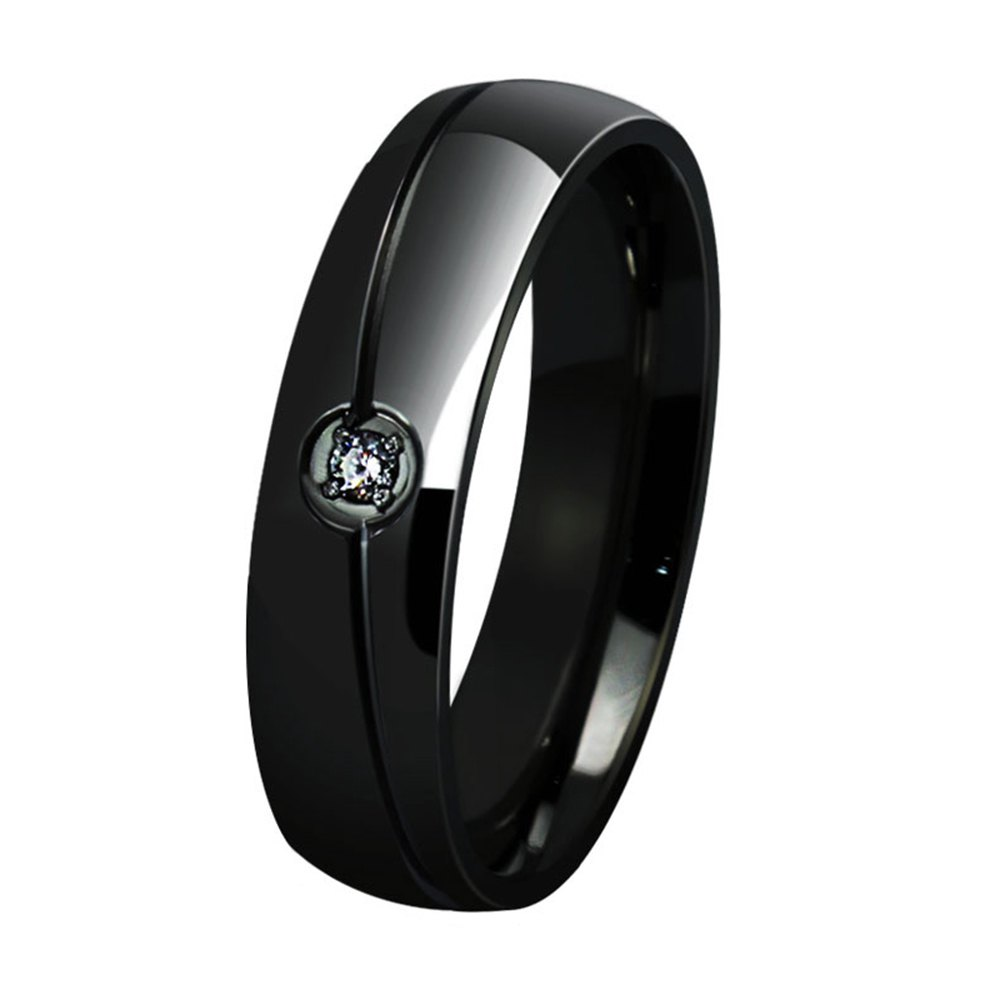 Best Fashionable Titanium Steel Men and Women Ring Personalized Simple Diamond Jewelry