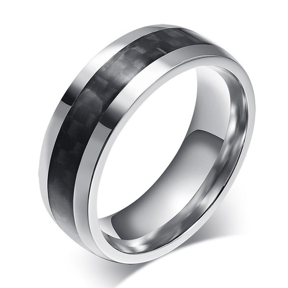 New New Carbon Fiber Men's Ring Simple Wild Stainless Steel Jewelry