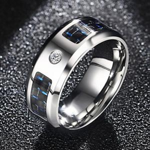 Men's Simple Fashion Trend Jewelry Stainless Steel Blue and Black Carbon Fiber Zircon Ring -
