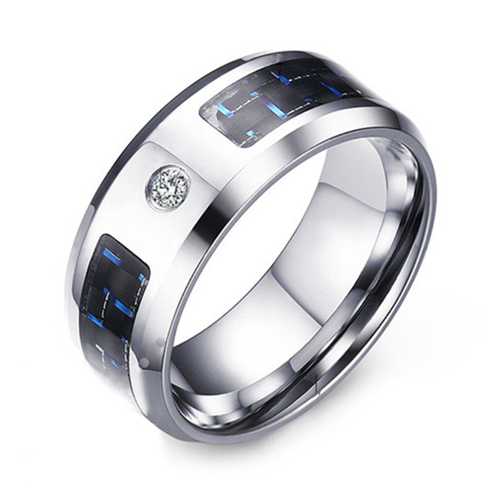 Shop Men's Simple Fashion Trend Jewelry Stainless Steel Blue and Black Carbon Fiber Zircon Ring