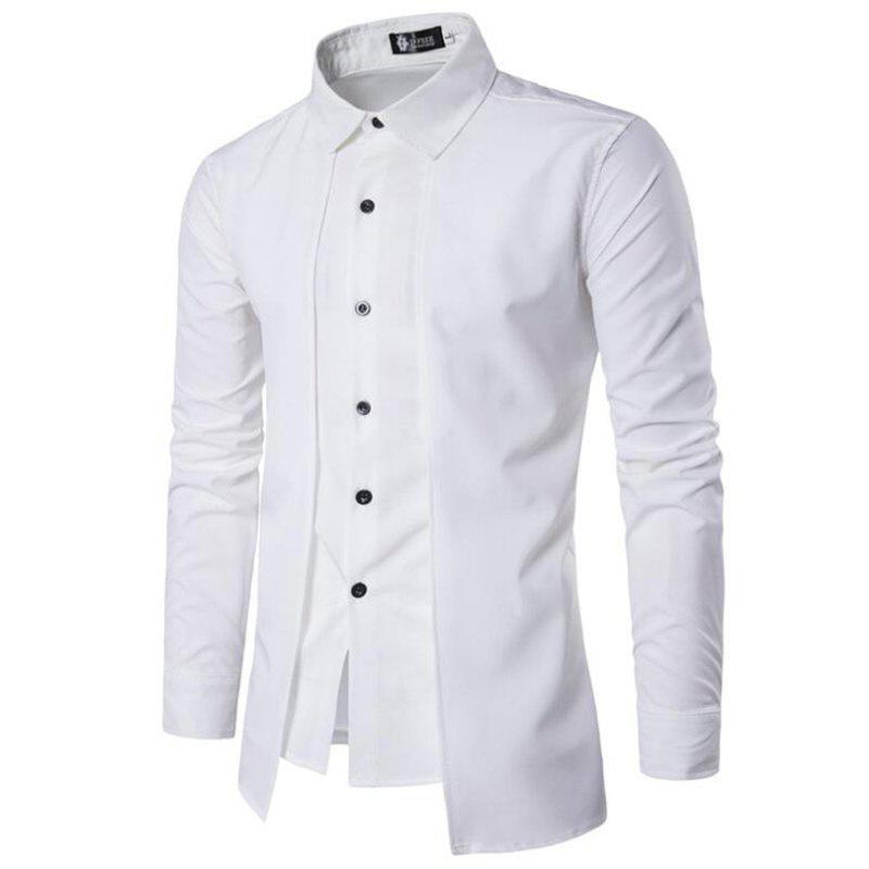 5f3842d1d35 2019 Men Fake Two Pieces Simple Style Casual Fashion Designer Shirts ...