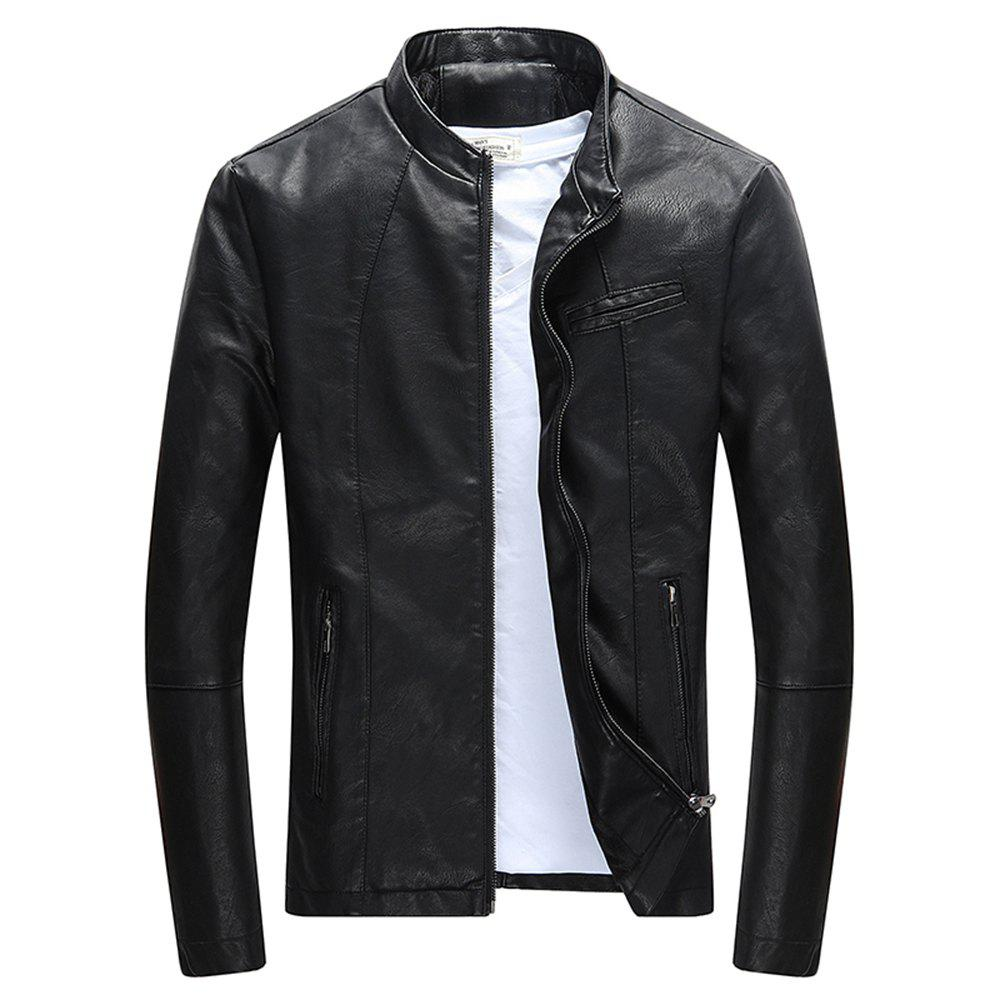 713cd23bba03f New New Fashion Autumn and Winter Men S Slim Fit PU Leather Stand Collar Jacket  Men S Casual