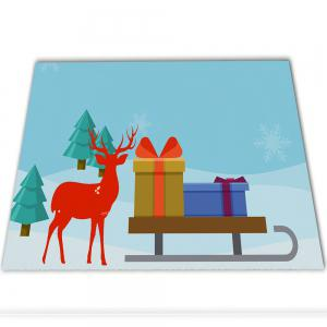 Christmas Deer Flannel Doormat Rug Mat -