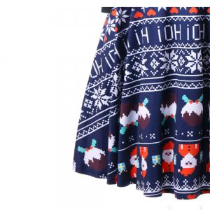 European and American Hot Sale Christmas Old Snowflake Dresses with Long Sleeves -