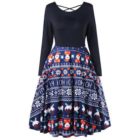 Trendy European and American Hot Sale Christmas Old Snowflake Dresses with Long Sleeves
