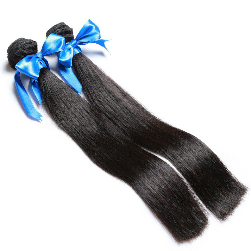Chic 2 Bundle Unprocessed Virgin Indian Straight Human Hair Weaves - Natural Black