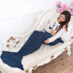 Cozy Cotton-Knit Mermaid Tail Blanket -
