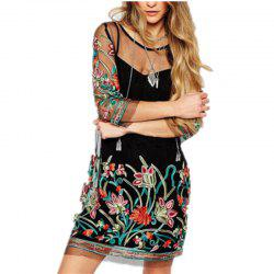 Sexy Lace Embroidery Seven Split Sleeve Dress -