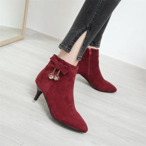 Miss Shoe A-530 Thin High Heel Zipper Bow and Ankle Boot -