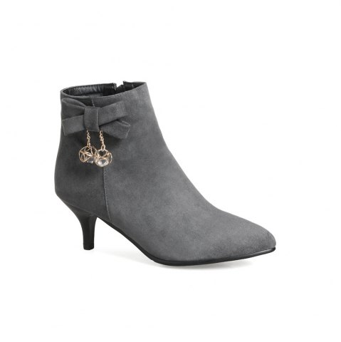 Buy Miss Shoe A-530 Thin High Heel Zipper Bow and Ankle Boot