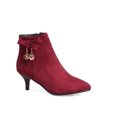 Latest Miss Shoe A-530 Thin High Heel Zipper Bow and Ankle Boot