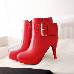 Miss Shoe 5-2 Fine High Heel Zipper Belt Buckle Fashion Boots -