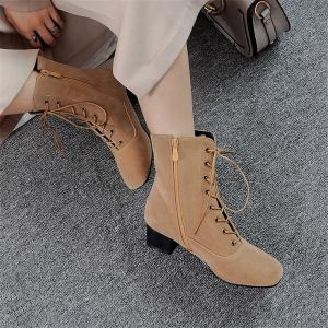 Miss Shoe B05 New Style Square Head Show Thin Boots with Short Boots -