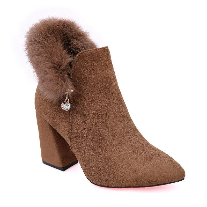 Trendy New Rough with High-Heeled Fur Women'S Boots
