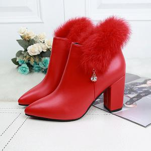 2017 New Rough with High-Heeled Fur Martin Boots Women -