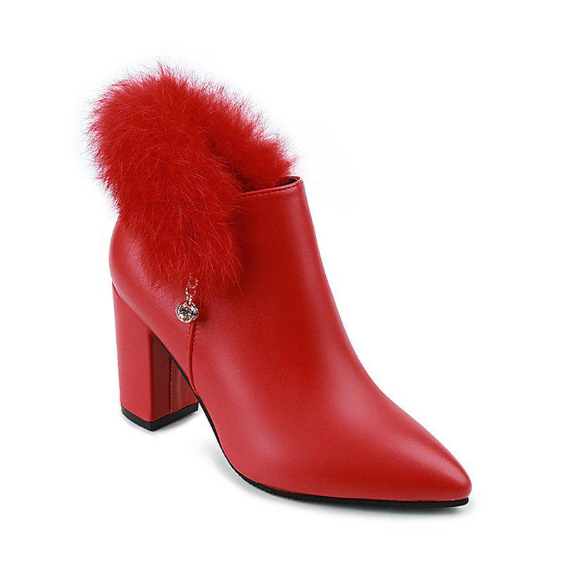 New 2017 New Rough with High-Heeled Fur Martin Boots Women