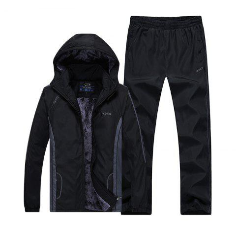 Online Autumn and Winter Plus Velvet Men'S Sportswear Suit Thick Warm Casual Outdoor Windbreaker