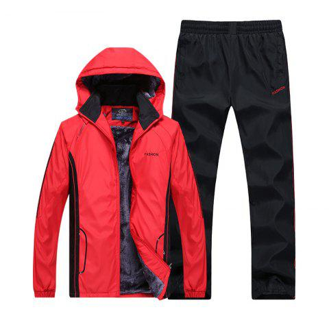 Outfit Autumn and Winter Plus Velvet Men'S Sportswear Suit Thick Warm Casual Outdoor Windbreaker