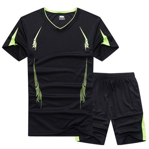 Outfit Summer Men'S Sports Suit Fitness Running Clothes Short-Sleeved Quick-Drying T-Shirt Pants Pants Basketball Clothes