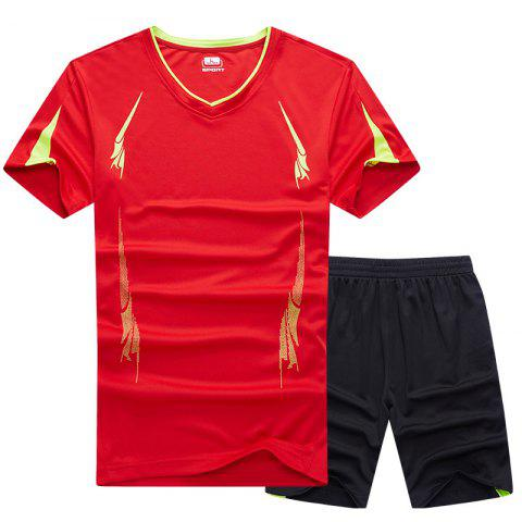 Hot Summer Men'S Sports Suit Fitness Running Clothes Short-Sleeved Quick-Drying T-Shirt Pants Pants Basketball Clothes