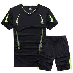 Summer Men'S Sports Suit Fitness Running Clothes Short-Sleeved Quick-Drying T-Shirt Pants Pants Basketball Clothes -