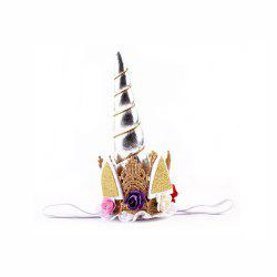 Unicorn Party Hair Hoops Hair Accessories Gold Horn Animal Headdress Children Flower Headband -