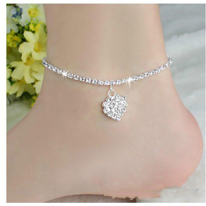 Online Europe and The United States Fashion Personality Love Full Diamond Foot Chain Wild Sexy Heart Foot Jewelry