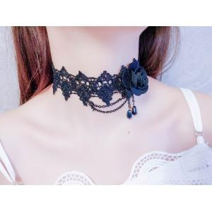 Creative New European and American Exaggerated Lace Necklace Temperament Ladies Black Roses Items -