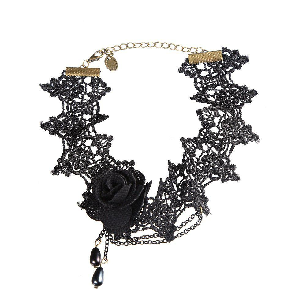 Unique Creative New European and American Exaggerated Lace Necklace Temperament Ladies Black Roses Items