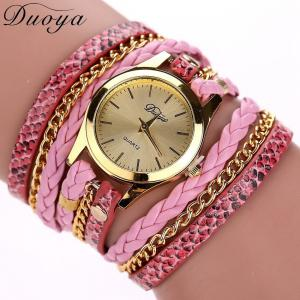 Women's Casual Vintage Multilayer Wristwatch Weave Wrap Rivet Leather Bracelet Wrist Watch -