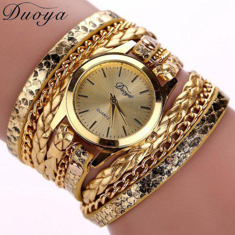 Trendy Women's Casual Vintage Multilayer Wristwatch Weave Wrap Rivet Leather Bracelet Wrist Watch