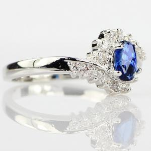 Exquisite 925 Sterling Silver Natural Sapphire Gemstones Birthstone Bride Princess Wedding Engagement Strange Ring Size 6 7 8 9 10 -
