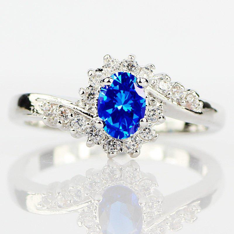 Trendy Exquisite 925 Sterling Silver Natural Sapphire Gemstones Birthstone Bride Princess Wedding Engagement Strange Ring Size 6 7 8 9 10