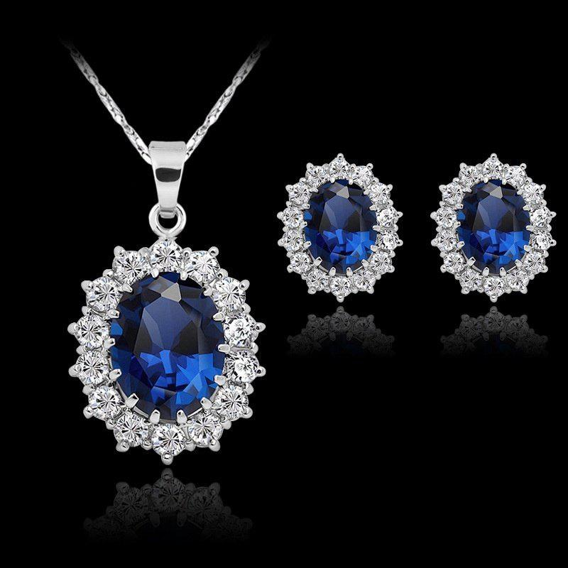 Buy Fashion Silver Filled Blue Sapphire Crystal Christmas Jewelry Sets Snowflake Necklace Earrings