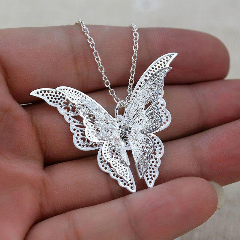 Fashion New 925 Sterling Silver Lovely Butterfly Pendant Chain Necklace Women Jewelry