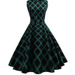 Collect Waist To Show Thin Big Plaid Dress - Black - S