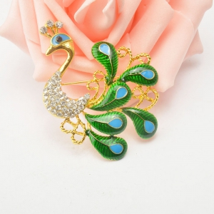 High-grade Brooches Multicolor Rhinestone Green Peacock Brooch Wedding Pins Fine Jewelry -