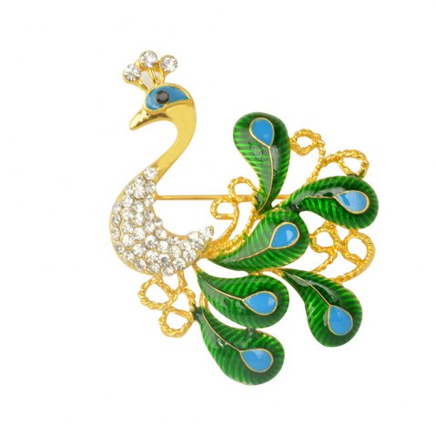 New High-grade Brooches Multicolor Rhinestone Green Peacock Brooch Wedding Pins Fine Jewelry