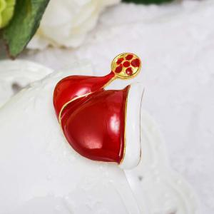 Fashion Christmas Hat Brooch Santa Claus Hat Christmas Gift Jewelry For Women Kids Red Brooches -