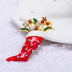 Crystal Enamel Brooch Pin Christmas Stocking Shape Pin Brooch Wedding Party Christmas Gift Jewelry Party Supplies -